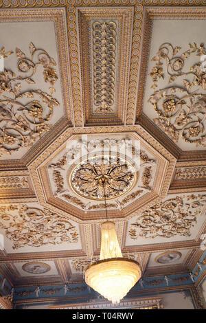 Ornate ceiling inside Hylands House, Writtle, Chelmsford, Essex, UK - Stock Image