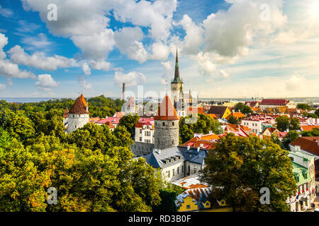 Afternoon view overlooking the medieval walled city of Tallinn Estonia on an early autumn day in the Baltics region of Northern Europe. - Stock Image