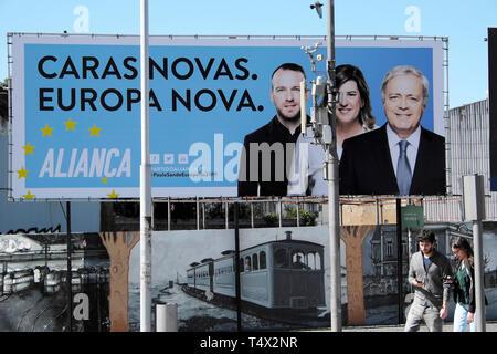 New Faces, New Europe Caras - Novas, Europa Nova Aliança Centre Right Alliance political party poster on display March 2019 in street Porto Portugal - Stock Image