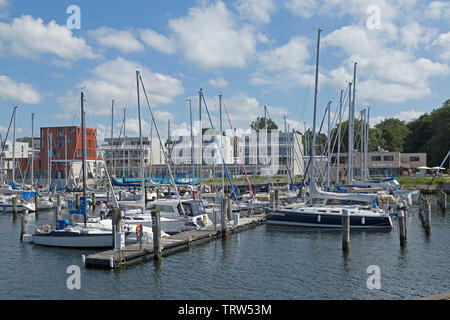 marina with Waterfront Quarters, Priwall, Travemuende, Schleswig-Holstein, Germany - Stock Image