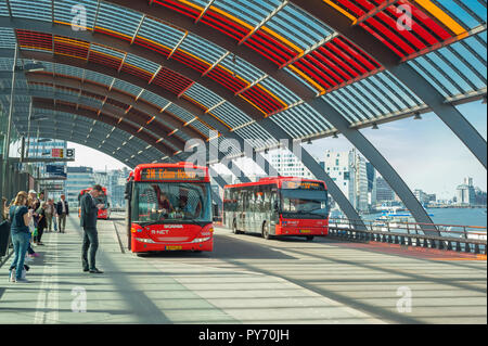 Bus sation Amsterdam, Netherlands. - Stock Image
