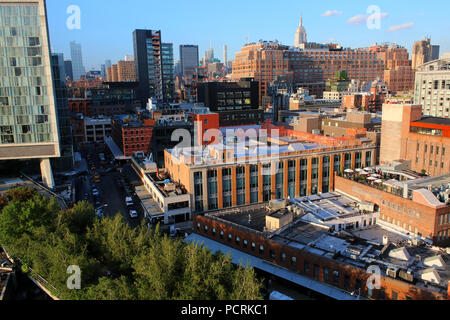 Rooftop view of Chelsea and Lower Manhattan skyline, Meatpacking District, Manhattan on JULY 7th, 2017 in New York, USA. (Photo by Wojciech Migda) - Stock Image