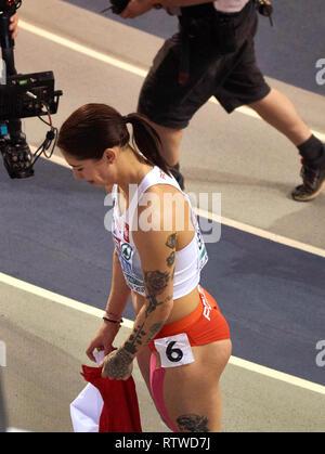 Glasgow, UK: 2st March 2019: Ewa Swoboda wins gold in 60m race on European Athletics Indoor Championships 2019.Credit: Pawel Pietraszewski/ Alamy News - Stock Image