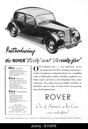 1948 advertisement for the Rover Sixty 60 and Seventy Five 75 Motor Cars FOR EDITORIAL USE ONLY - Stock Image