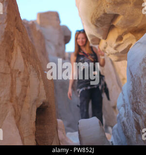 Lady in White Canyon. South Sinai. Egypt - Stock Image