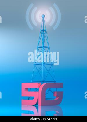 Conceptual illustration representing the new 5G mobile data network. Some have proposed that the new fifth generation network poses a health risk from - Stock Image