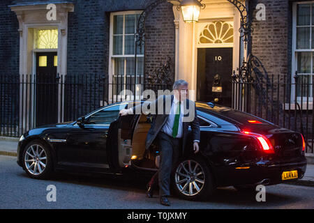 London, UK. 20th March, 2019. Brandon Lewis MP, Minister Without Portfolio, arrives at 10 Downing Street after Prime Minister Theresa May's announcement that she had written to EU Council President Donald Tusk to request a delay to Brexit until 30th June. Credit: Mark Kerrison/Alamy Live News - Stock Image