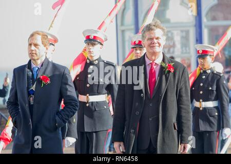 Eastbourne, UK. 17th Feb 2019. Stephen Lloyd MP joins todays Chinese New Year celebrations in Eastbourne, East Sussex.  Credit: Ed Brown/Alamy Live News - Stock Image