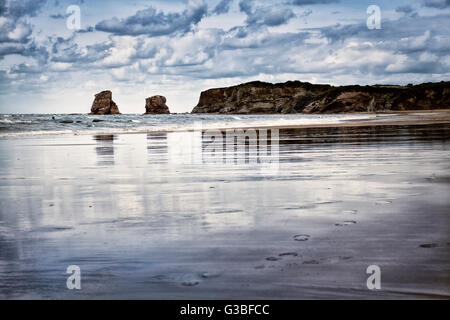 Dramatic sky over Hendaye Beach in Pays Basque, France - Stock Image