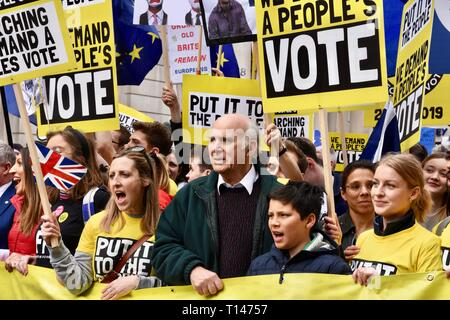 London, UK. 23rd March, 2019. Sir Vince Cable, People's Vote March, Whitehall, London.UK Credit: michael melia/Alamy Live News - Stock Image