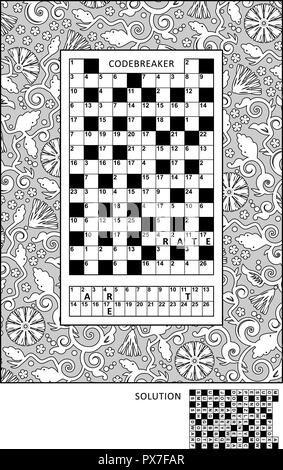 Puzzle and coloring activity page for grown-ups with codebreaker, or codeword, else code cracker word game (English) and wide decorative frame to color. - Stock Image