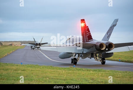 Swiss Air Force F/A 18E Hornets deployed to RAF Lossiemouth, Scotland for four weeks in November 2017. - Stock Image