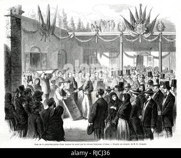 The laying of the first stone of a nursing home in the french colony at Lima. A crowd of people wait for the laying of the first stone, being inspected by a man in the middle of the room, to celebrate the opening of a new nursing home in Lima. - Stock Image