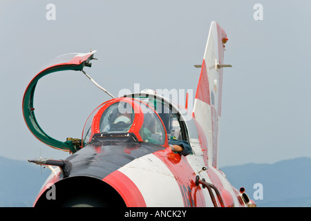 Croatian Air Force MiG-21 UMD with opened cockpit canopy, Pleso AFB during 'open day' visit in 2007 - Stock Image
