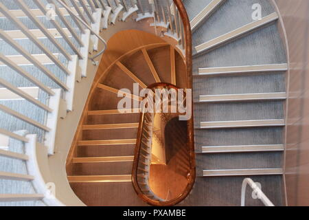 Spiral staircase, taken from inside The Arden, Stratford Upon Avon - Stock Image