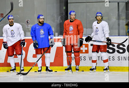 Bratislava, Slovakia. 15th May, 2019. Czech players L-R Michal Repik, Milan Gulas, Radek Faksa and Michael Frolik attend a training session of the Czech national team within the 2019 IIHF World Championship in Bratislava, Slovakia, on May 15, 2019, one day prior to the match against Latvia. Credit: Vit Simanek/CTK Photo/Alamy Live News - Stock Image
