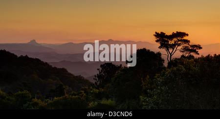 Mountain range at sunset, QLD Australia - Stock Image