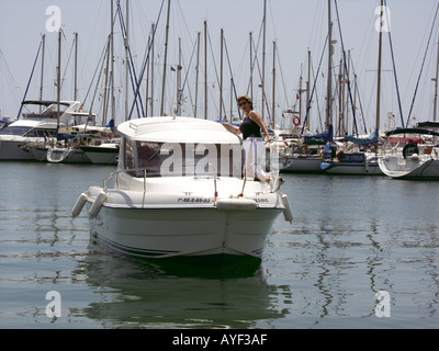 Yachts and pleasure boats at  Fuengirola, Costa del Sol, Spain, Europe, sail sails sailing yacht yachts pleasure fun boat boats - Stock Image