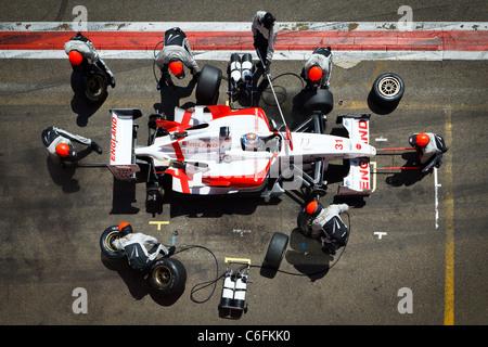 Pit Stop at Zolder Circuit, Belgium - Stock Image