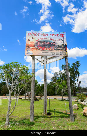 Sign for Innot Hot Springs, a popular destination, Atherton Tablelands, Far North Queensland, FNQ, QLD, Australia - Stock Image