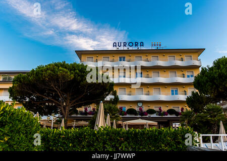 View at the front of Aurora 1928 hotel on Jesolo beach, Italy. - Stock Image