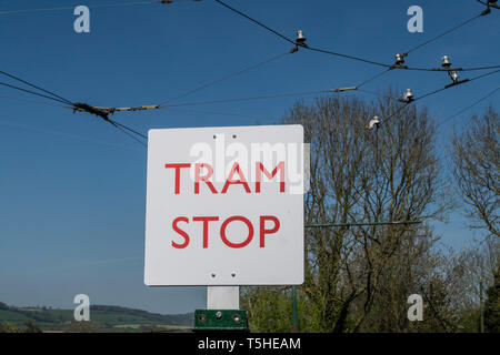 Tram stop sign at Colyton Station on the Seaton tramway, Devon, UK - Stock Image