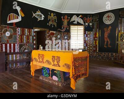 Interior view of Saint Therese's Catholic Church & Presbytery on Bathurst Island, one of the Tiwi Islands. - Stock Image
