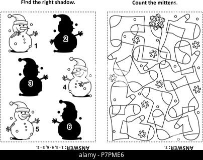 Two visual puzzles and coloring page for kids. Find the right shadow for each picture of snowman. Count the mittens. Black and white. Answers included - Stock Image
