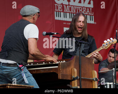 Montreal, Canada. 6/29/2018. Riot and the Blues devils perform on stage at the Montreal International Jazz Festival. Credit: richard prudhomme/Alamy Live News - Stock Image