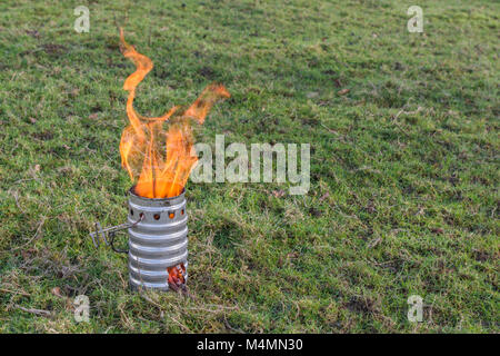 Aluminium emergency kettle (base unit) for boiling water - for survival or backpacking. - Stock Image