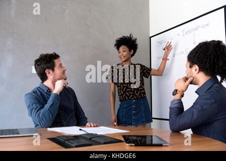 Woman giving presentation to class - Stock Image