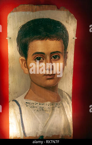 Portrait of the Boy Eutyches, From Egypt, The Metropolitan Museum of Art, Manhattan, New York USA - Stock Image