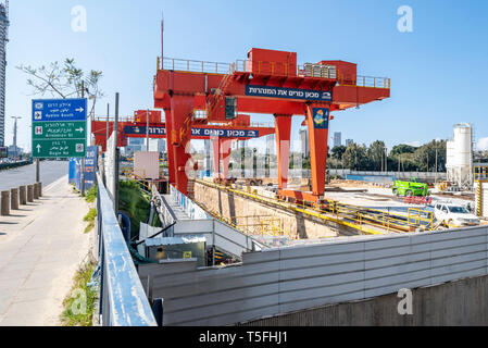 Israel, Tel Aviv-Yafo - 23 February 2019: Work in process on the Tel Aviv light rail near the Diamond Exchange District - Stock Image