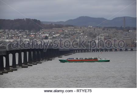 General cargo ship Ida and Tay Rail Bridge Dundee Scotland  February 2019 - Stock Image