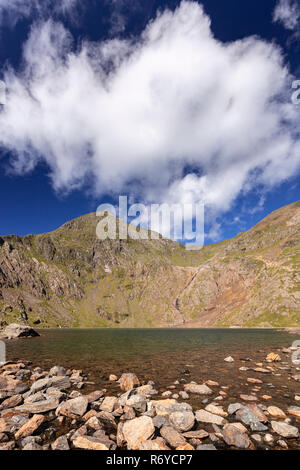 Llyn Llydaw and Snowdon mountain, Snowdonia, North Wales - Stock Image