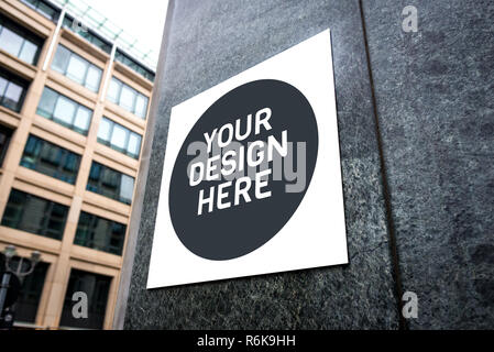 Mockup of signboard on the wall of the building on city street. Mockup could be used for presenting logotypes of shops, barber shops, bars, restaurant - Stock Image