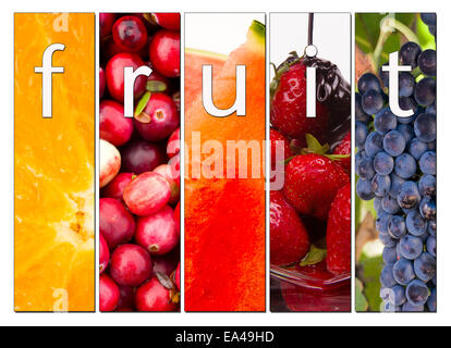 Composite image including 5 panels depicting fruit with the word fruit inside with styling and drop shadow - Stock Image