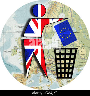 Brexit, Proposed referendum on United Kingdom membership in the European Union, Great Britain throws Europe in the - Stock Image