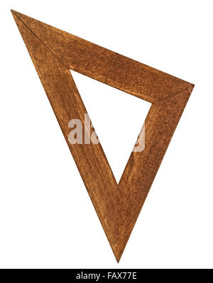 vintage wooden stained triangle ruler over white - Stock Image