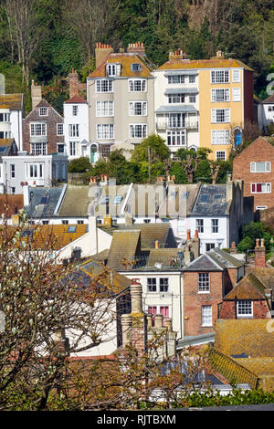 View across Hastings Old Town, from Tackleway, East Hill, East Sussex, UK - Stock Image