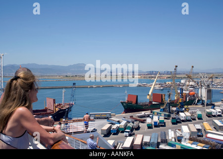 Cruse Ship Passengers watches her arrival in Cagliari Harbour, Sardinia, Mediterranean Sea, Europe,  cruiseship cruse ship passe - Stock Image