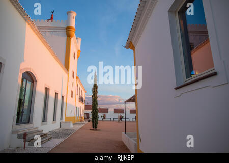 The courtyard of the Medieval farmhouse of the Torre de Palma Winery and hotel - Stock Image