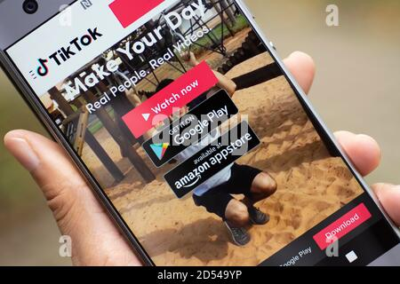 Tiktok Tik Tok Douyin Login Screen Mobile Phone Download App From Google Play Or Amazon Appstore Stock Photo Alamy