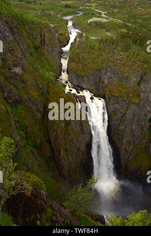 voring falls the highest waterfall in norway panorama view, voringfossen waterfalls in hardanger eidfjord view from the top a big tourist attraction i - Stock Image