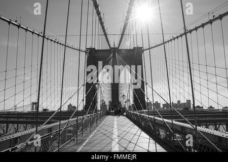 Symmetrical view of Brooklyn Bridge - Stock Image