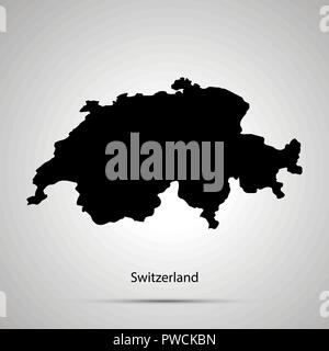Switzerland country map, simple black silhouette - Stock Image
