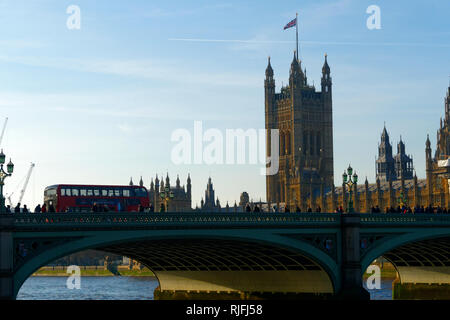 Westminster Bridge and British Parliament, London, United Kingdom. - Stock Image