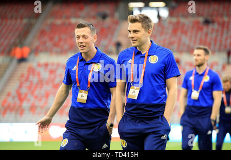 Scotland's Callum McGregor (left) and James Forrest on the pitch before the UEFA Euro 2020 Qualifying, Group I match at the King Baudouin Stadium, Brussels. - Stock Image