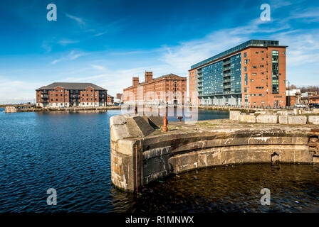 Modern development along the Princes half tide and Waterloo docks in Liverpool. - Stock Image