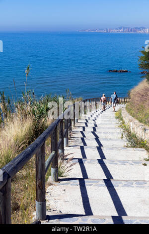 Steps leading down to Carvajal beach, Carvajal, Costa del Sol, Malaga Province, Andalusia, southern Spain. - Stock Image